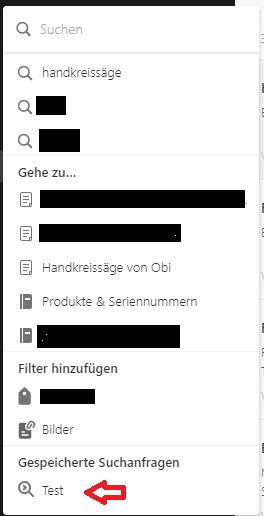 Suchfunktion von Evernote im Web
