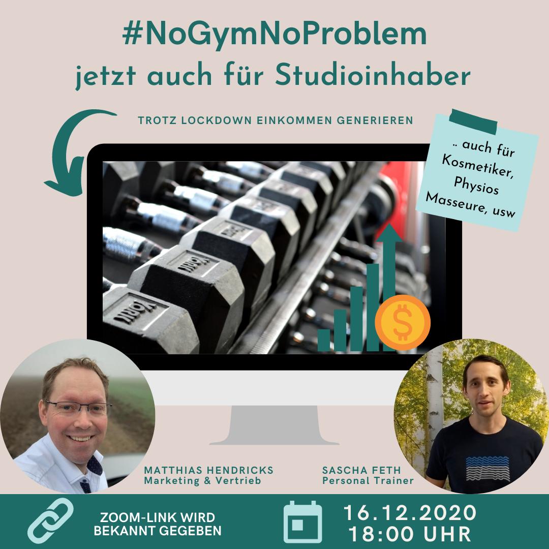 #NoGymNoProblem – Zusatzeinkommen für Studioinhaber