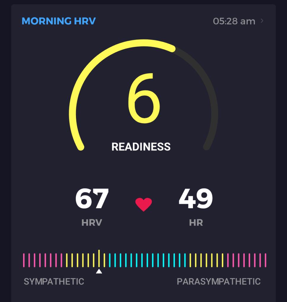 Bespiel für eine HRV-Messung. Hier ist ein Ruhetag angesagt