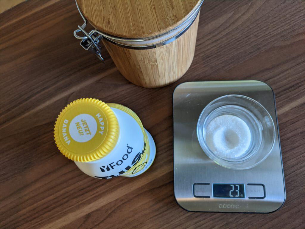 In einer Flasche yFood sind ca. 23g Zucker